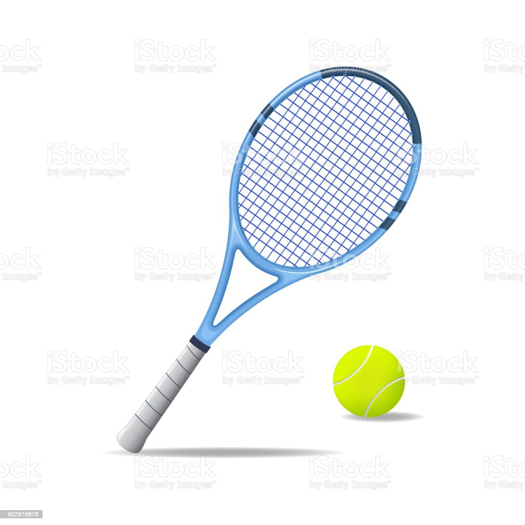 Realistic Detailed 3d Tennis Racket and Ball. Vector royalty-free realistic detailed 3d tennis racket and ball vector stock illustration - download image now