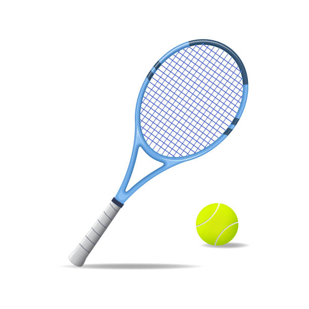 Realistic Detailed 3d Tennis Racket and Ball. Vector Realistic Detailed 3d Tennis Racket and Ball Equipment for Competition Play Game Concept. Vector illustration of Activity Leisure racket stock illustrations