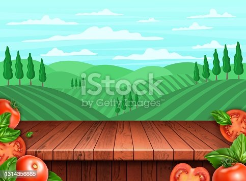 istock Realistic Detailed 3d Tomato and Rural Landscape Scene Concept Background Card. Vector 1314356665