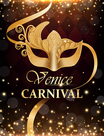 Realistic Detailed 3d Venice Carnival Ads Flyer Concept Banner. Vector