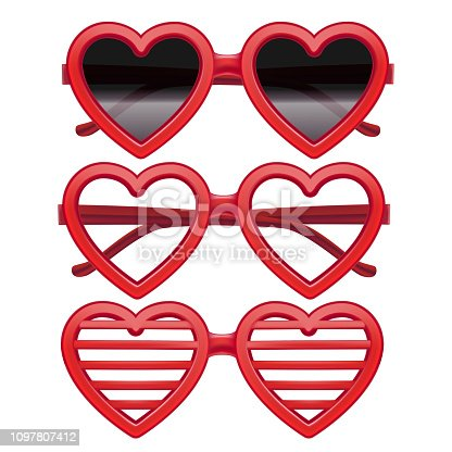 Realistic Detailed 3d Vintage Red Heart Glasses Set Different Types of Lenses -Black, Transparent and Stripes. Vector illustration