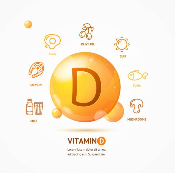 gerçekçi detaylı 3d d vitamini kart kavramı. vektör - vitamin d stock illustrations