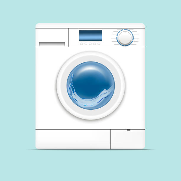 realistic detailed 3d washing machine. vector - washing machine stock illustrations, clip art, cartoons, & icons