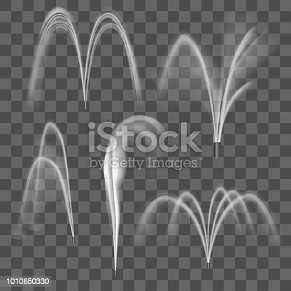 Realistic Detailed 3d Water Fountain Effect Set on a Transparent Background Symbol of Decoration Element Stream or Motion Aqua. Vector illustration