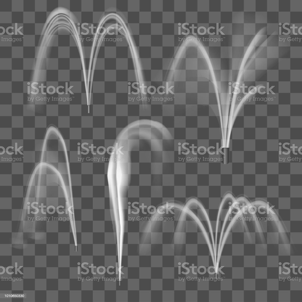 Realistic Detailed 3d Water Fountain Effect Set. Vector vector art illustration