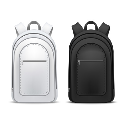 Realistic Detailed 3d White and Black Blank School Backpacks Template Mockup Set. Vector