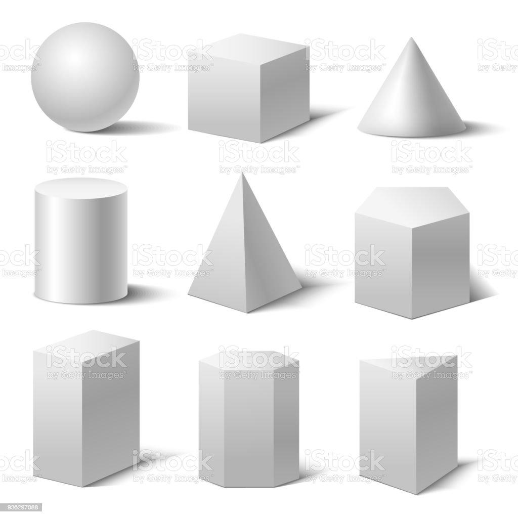 Realistic Detailed 3d White Basic Shapes Set. Vector royalty-free realistic detailed 3d white basic shapes set vector stock illustration - download image now