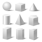 Realistic Detailed 3d White Basic Shapes Set Isolated on White Background Include of Cube, Cylinder, Sphere and Cone. Vector illustration