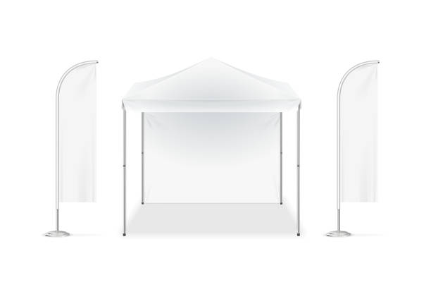 Realistic Detailed 3d White Blank Adv Beach Tent Flag Template Mockup Set. Vector Realistic Detailed 3d White Blank Adv Beach Tent Flag Empty Template Mockup Set. Vector illustration pavilion stock illustrations
