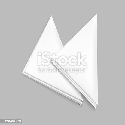 Realistic Detailed 3d White Blank Restaurant Napkin or Serviette Empty Template Mockup Set. Vector illustration of Paper Napkins