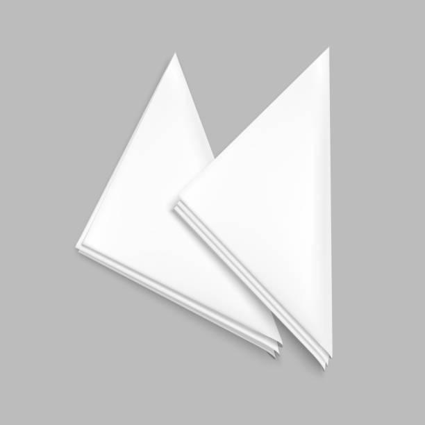stockillustraties, clipart, cartoons en iconen met realistische gedetailleerde 3d wit leeg restaurant servet sjabloon mockup instellen. vector - servet