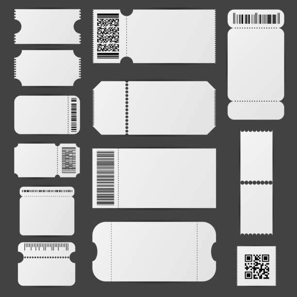 Realistic Detailed 3d White Blank Tickets Template Mockup Set. Vector Realistic Detailed 3d White Blank Tickets Empty Template Mockup Set. Vector illustration of Ticket on a Grey coupon stock illustrations