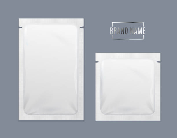 ilustrações de stock, clip art, desenhos animados e ícones de realistic detailed 3d white disposable foil sachet set. vector - packaging