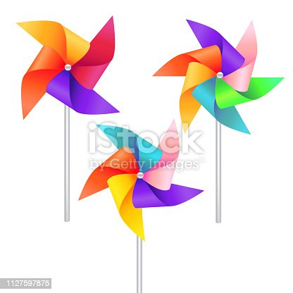 Realistic Detailed 3d Wind Mill Toy Set Isolated on a White Background. Vector illustration of Pinwheel or Windmill Wheel Rotation