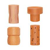 Realistic Detailed 3d Wine Bottle Cork Set. Vector