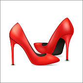 Realistic Detailed 3d Woman High Heel Red Shoes. Vector