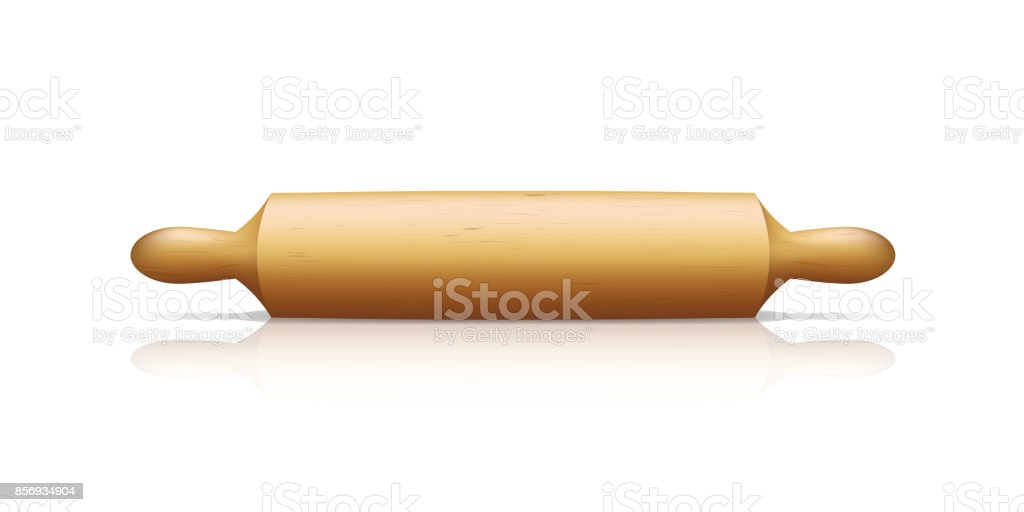 Realistic Detailed 3d Wooden Rolling Pin. Vector vector art illustration