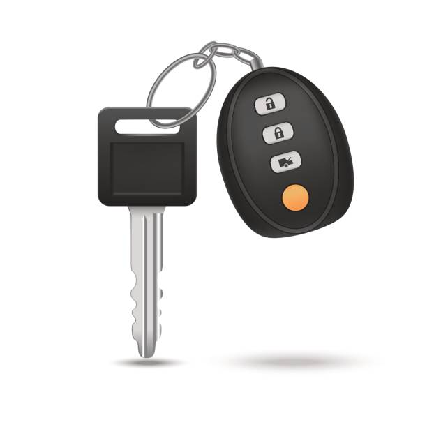 Realistic Detailed Auto Car Key with Remote Control. Vector Realistic Detailed Auto Car Key with Remote Control Automobile Security Electronic Technology. Vector illustration car key stock illustrations