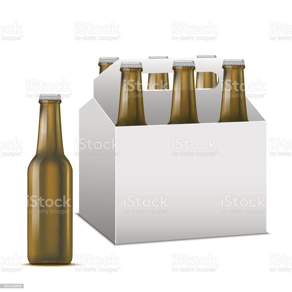 Réaliste de bière détaillée Sixpack alcoolique boisson. Vector réaliste de bière détaillée sixpack alcoolique boisson vector vecteurs libres de droits et plus d'images vectorielles de alcool libre de droits