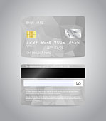 Realistic detailed credit cards set with colorful silver grey abstract triangular design background. Front and back side template. Money, payment symbol. Vector illustration EPS10