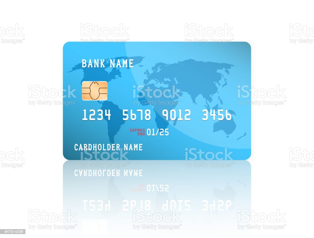 realistic detailed credit card with the world map on blue background vector illustration design royalty