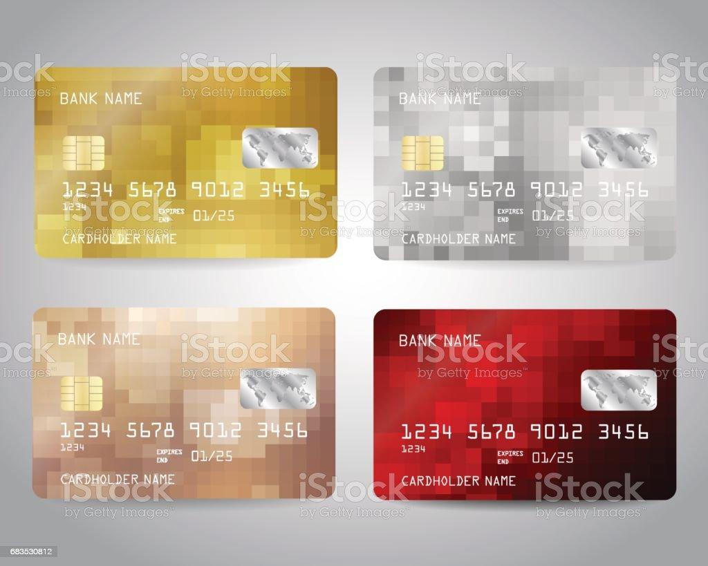 Gerçekçi detaylı kredi kartları seti vektör sanat illüstrasyonu
