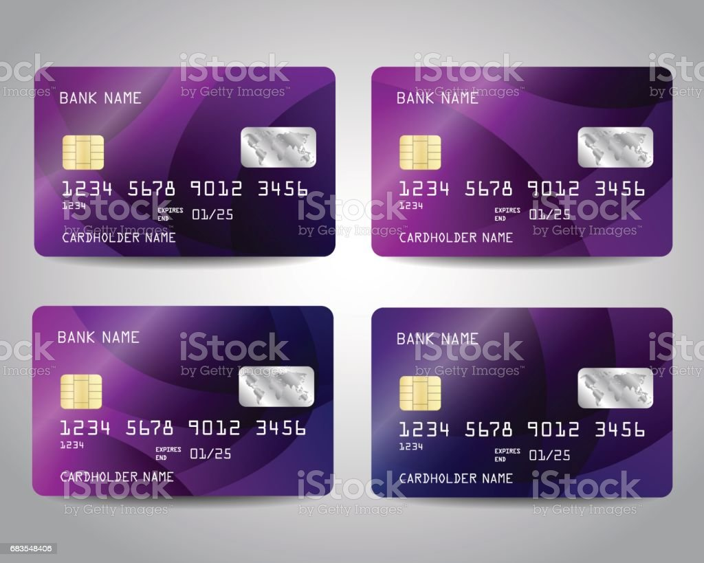 Realistic detailed credit cards set Realistic detailed credit cards set with colorful purple abstract design background. Vector template EPS10 ATM stock vector
