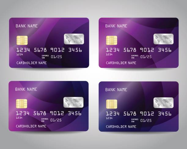Realistic detailed credit cards set Realistic detailed credit cards set with colorful purple abstract design background. Vector template EPS10 banking silhouettes stock illustrations