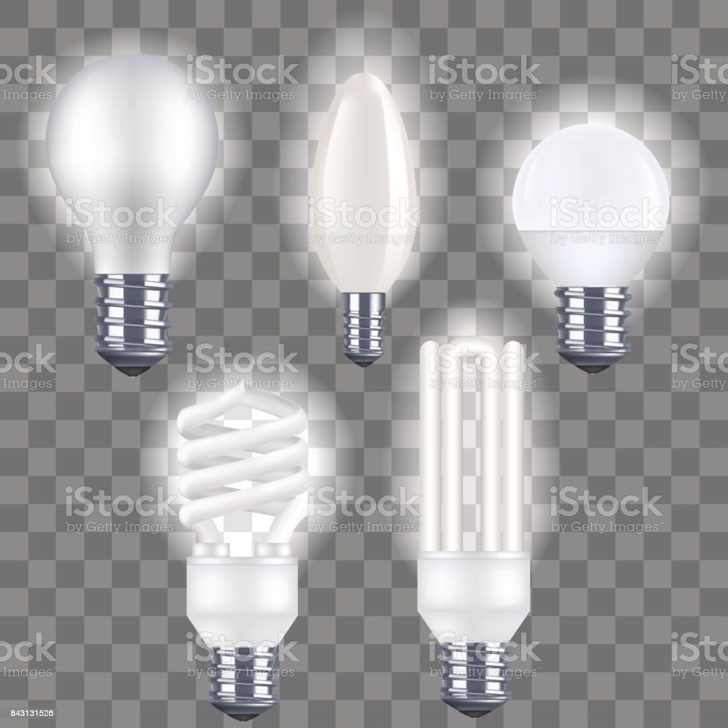 Realistic Detailed Fluorescent and Electric Light Bulb on a Transparent Background. Vector vector art illustration