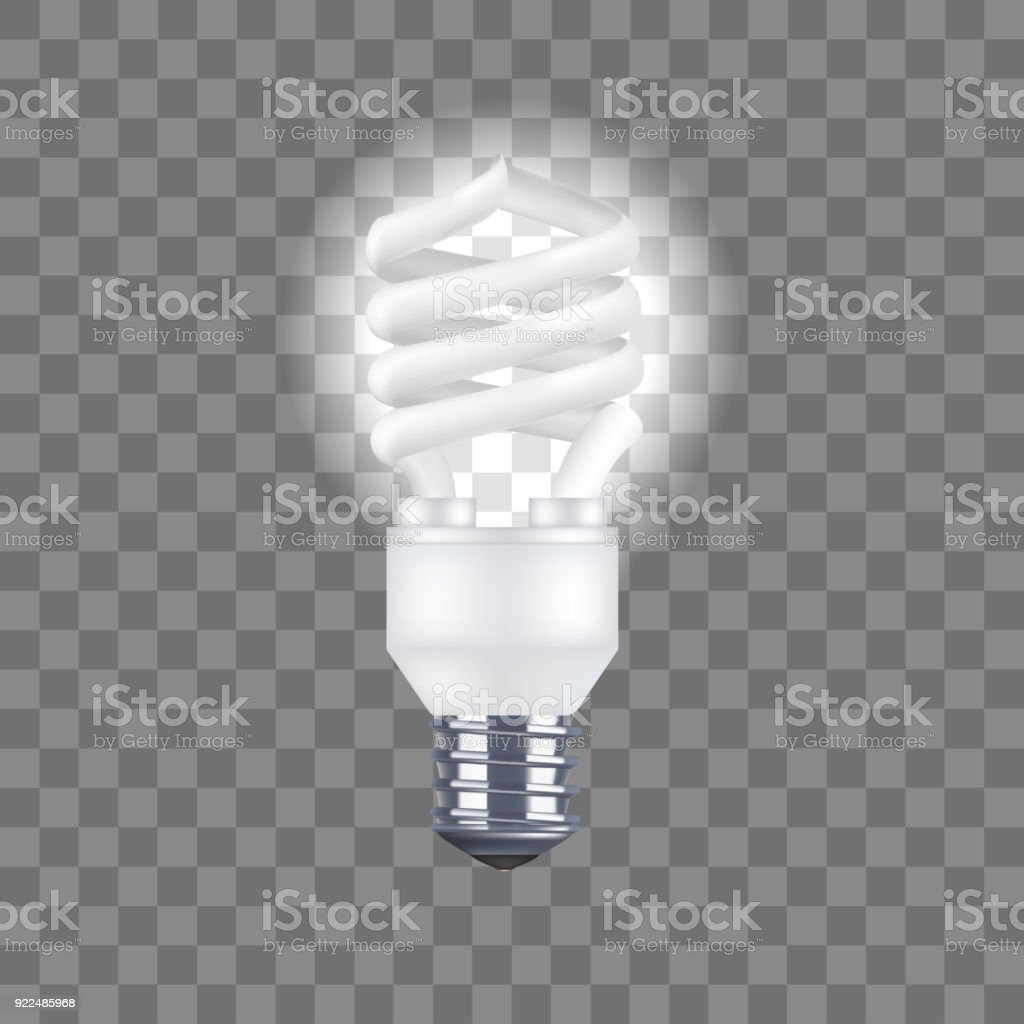 Realistic Detailed Light Bulb on a Transparent Background. Vector vector art illustration