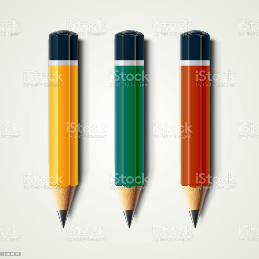 Realistic detailed sharpened pencils isolated on white background. Vector illustration vector art illustration