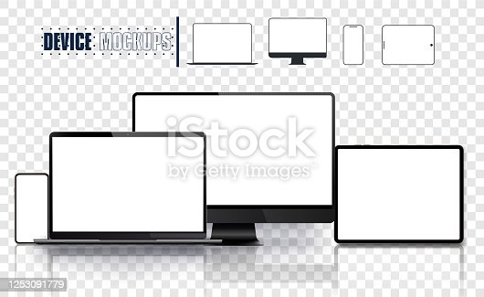 Realistic device set: pc, monitor laptop, tablet and phone template.