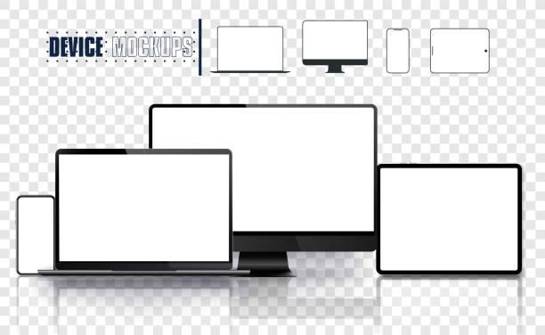 illustrazioni stock, clip art, cartoni animati e icone di tendenza di set di dispositivi realistico: pc, monitor laptop, tablet e modello di telefono. set di icone linea correlate a dispositivi e elettronici. illustrazione vettoriale - attrezzatura
