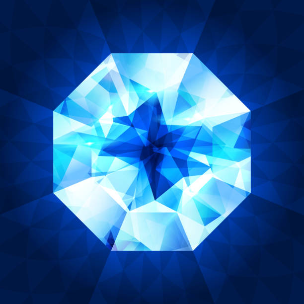 Realistic diamond in top view on shiny background. vector art illustration
