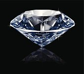 Illustration of a Classical Perfect Diamond with Sparkles on Black Background (Pdf(6) and Ai(8) files are included)