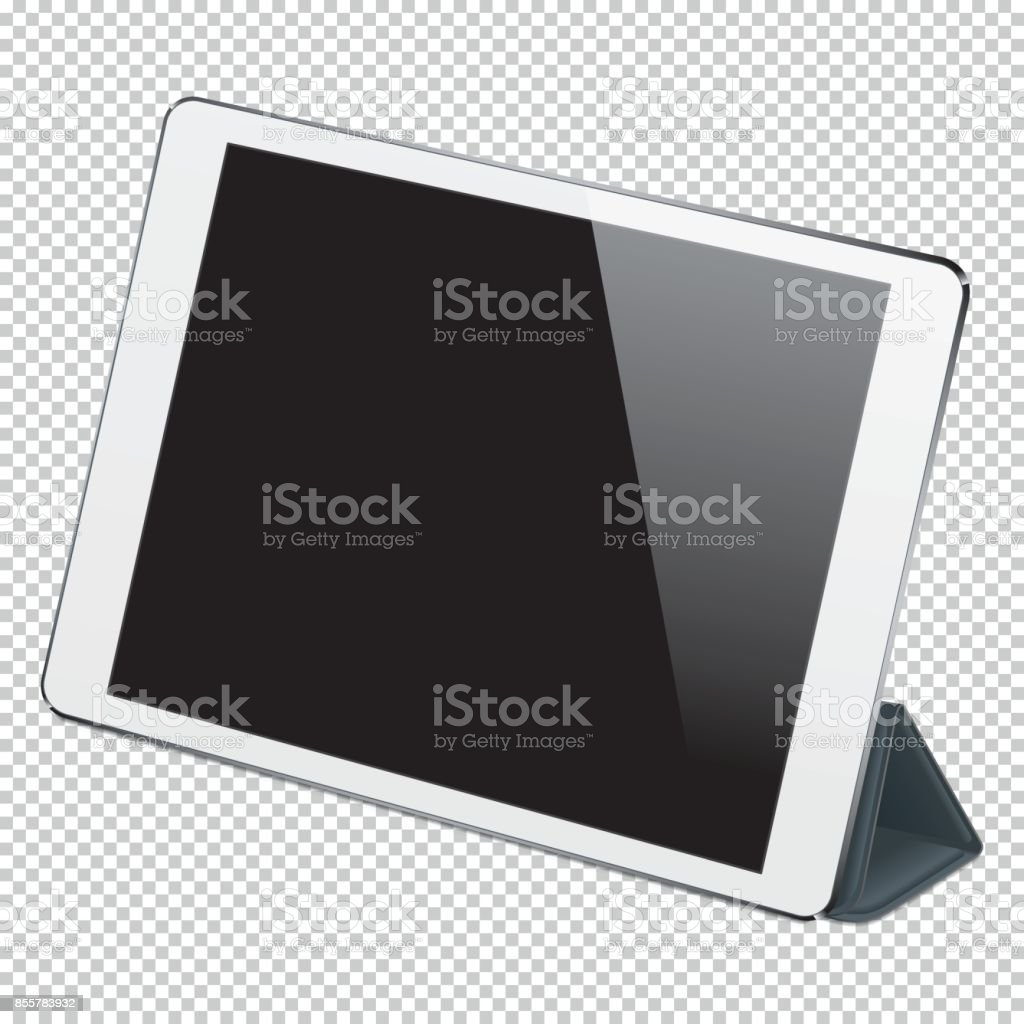 Realistic digital PC tablet vector art illustration