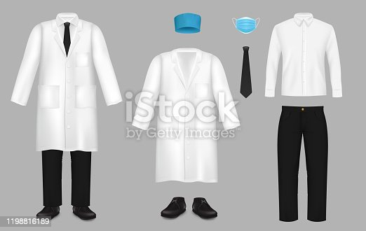 Doctor suit set, vector isolated illustration. Realistic white coat or lab coat, shirt, blue hat and mask, black pants, shoes and tie. Medical uniform for healthcare professionals.