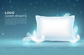 Realistic dream concept. Comfort sleep, bed relax pillow with feathers mockup, clouds stars on night sky. Dream vector background