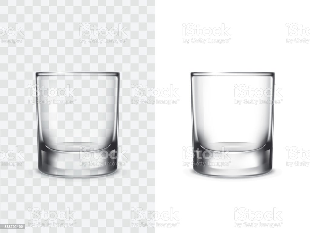 Realistic drinking glasses vector art illustration