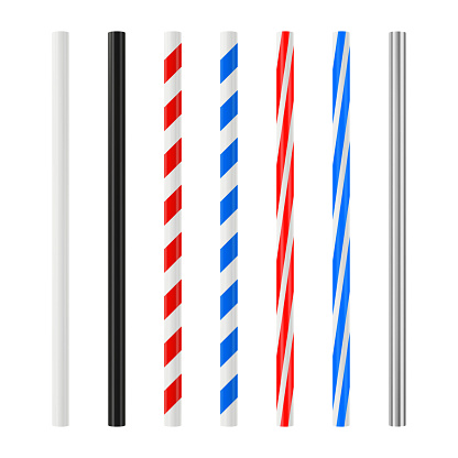 Realistic drinking straw set. Plastic cocktail tube with colored stripes. Vector mockup.