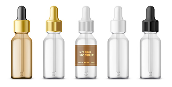 Realistic dropper glass bottle set. Cosmetic blank vials for liquid drug. transparent bottles template with colorful glossy and matt cap.