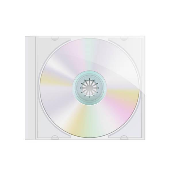 ilustrações, clipart, desenhos animados e ícones de realista modelo de disco e caixa dvd no fundo liso - cd