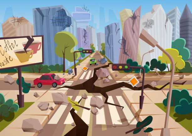 illustrations, cliparts, dessins animés et icônes de tremblement de terre réaliste avec des crevasses du sol en bande dessinée ruiné maisons de ville urbain avec des fissures et des dommages-intérêts. en cas de catastrophe naturelle ou de cataclysme, illustration vectorielle de nature catastrophe. - desastre natural