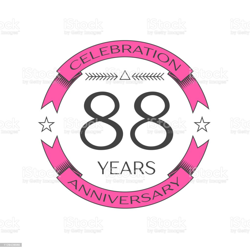 Realistic eighty eight years anniversary celebration with ring and ribbon on white background. Vector template for your design vector art illustration