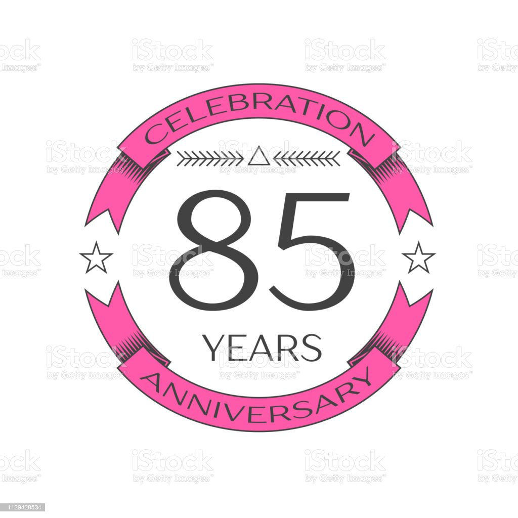 Realistic eighty five years anniversary celebration with ring and ribbon on white background. Vector template for your design vector art illustration