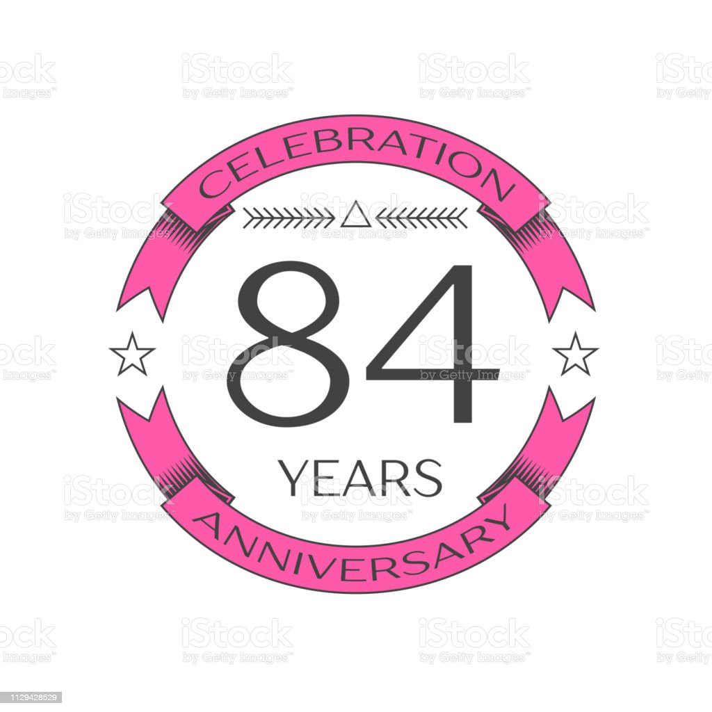 Realistic eighty four years anniversary celebration with ring and ribbon on white background. Vector template for your design vector art illustration