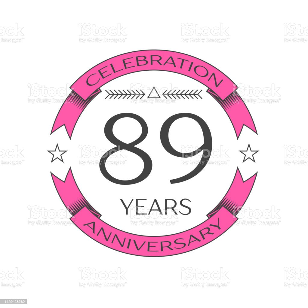 Realistic eighty nine years anniversary celebration with ring and ribbon on white background. Vector template for your design vector art illustration
