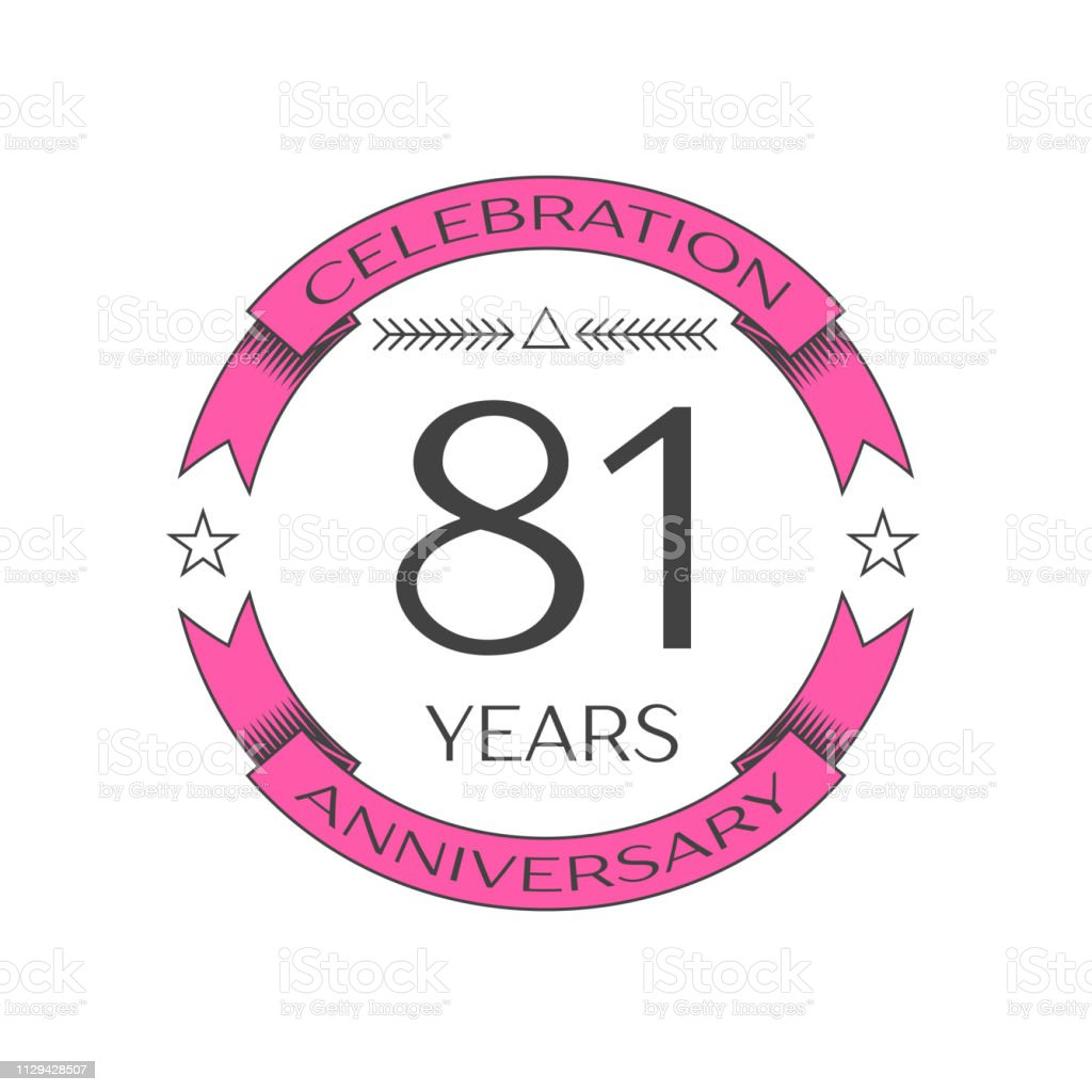 Realistic eighty one years anniversary celebration with ring and ribbon on white background. Vector template for your design vector art illustration