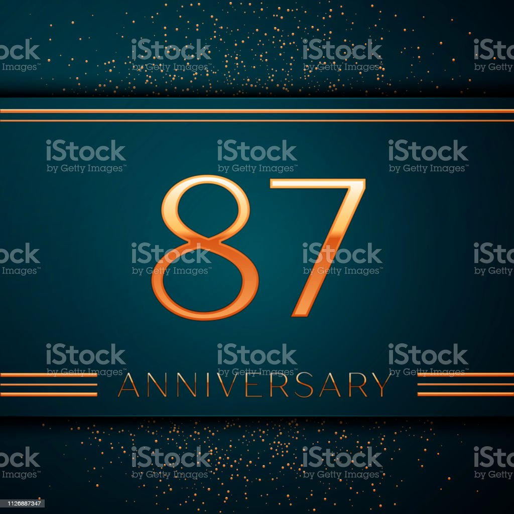 Realistic Eighty seven Years Anniversary Celebration design banner. Golden number and confetti on green background. Colorful Vector template elements for your birthday party vector art illustration