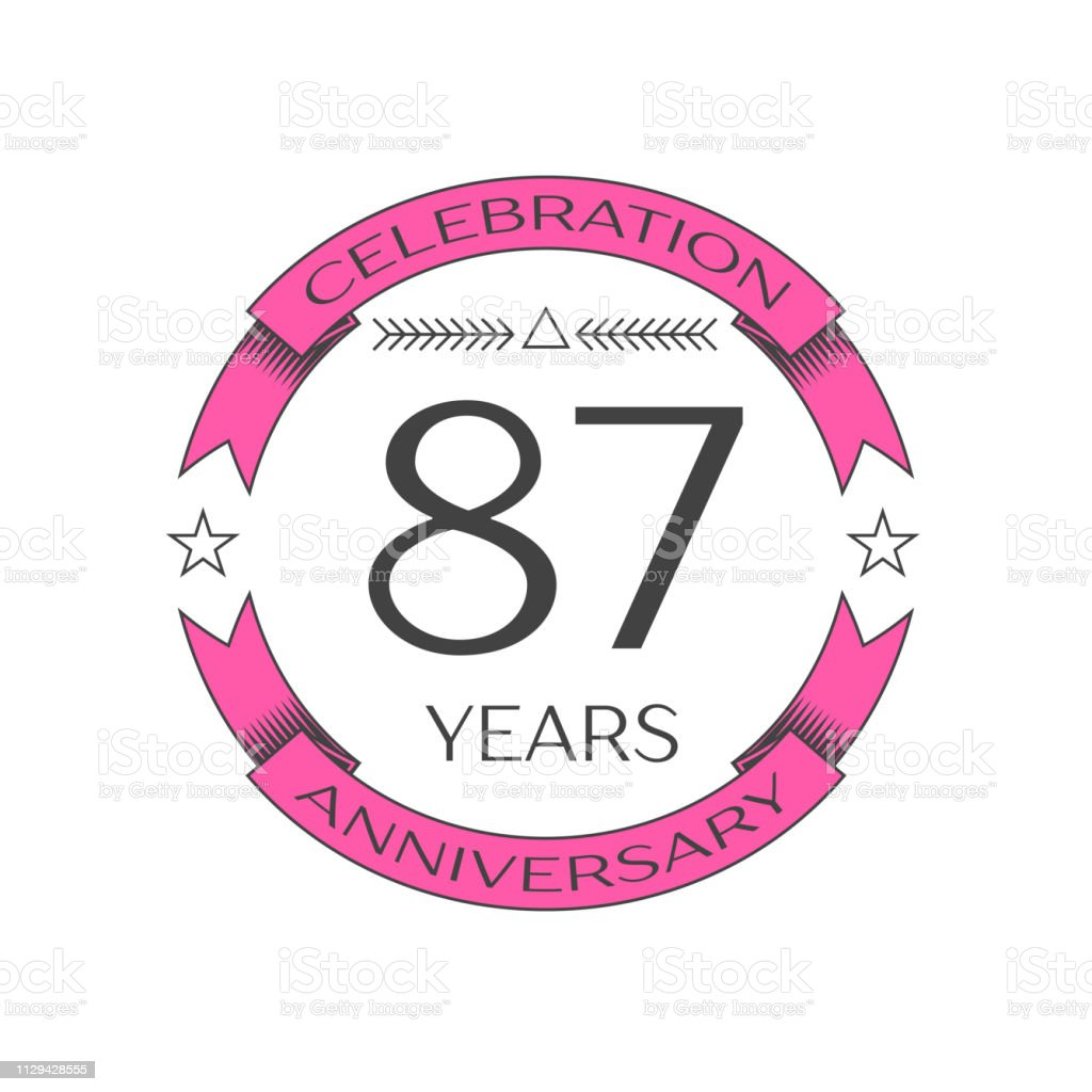 Realistic eighty seven years anniversary celebration with ring and ribbon on white background. Vector template for your design vector art illustration